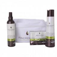 Набор для тонких волос в белой косметичке Macadamia Weightless moisture beauty bag: фото