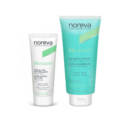 Набор для комбинированной кожи NOREVA MATIDIANE: Очищающий отшелушивающий гель 200мл +Дневной матирующий крем 40мл-30% на кремСроки:05/2022 + 04/2021: фото